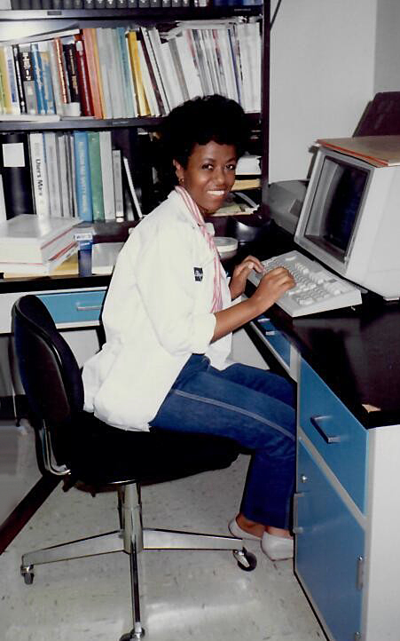 Dr. Woldemussie at her computer. (Photo courtesy of the Woldemussie family.)