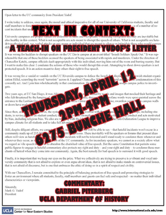 Text in Context: A Teach-in on President Yudof's Letter