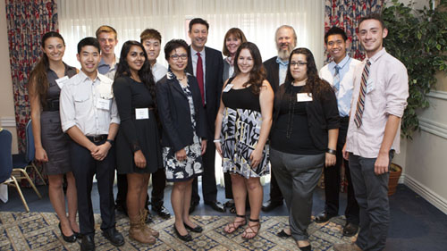 Left to right; front row: Wayne Wong, Jas Kirt, Interim Vice Provost Cindy Fan, Bridget Webb, Erika Hirugami, Logan Linnane. Back row: Mikala Caton, Thomas Norris, Victor Ou, Terry Kramer, Suzan Kramer, Associate Vice Provost and Director Chris Erickson, and Alexander Tran. (Photo: Oliver Chien/ UCLA.)