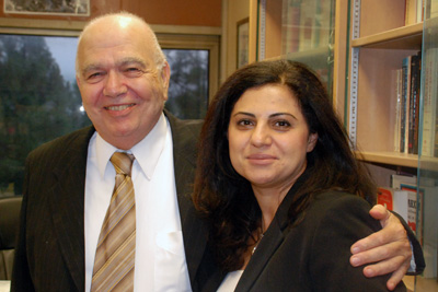 Grigorian with UCLA History Professor Ricard Hovannisian on Oct. 12, before welcoming to campus the U.S. ambassador to Armenia