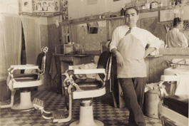 Garin's great-grandfather Kaspar at his barbershop in downtown Tulare, Calif., in the San Joaquin Valley. Photo courtesy of Garin Hovannisian.