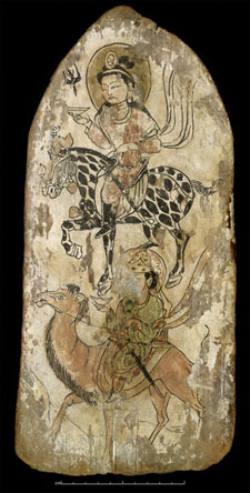 Votive wooden plaque from Dandan-Uliq in the kingdom of Khotan. Courtesy of the British Museum, 1907,1111.70 (D.VII.5), ink and colours on wood.