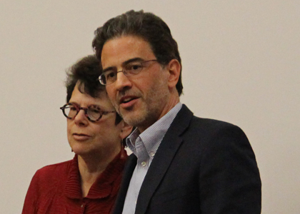 Sociologist Gail Kligman (left), director of the Center for European and Eurasian Studies, and Daniel Treisman, professor of political science.