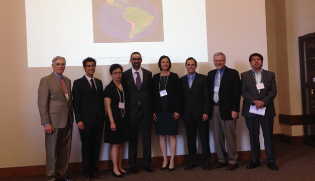 From left: Thomas J. Coates, Director, Center for World Health, David Geffen School of Medicine;  Nicolas Cuttriss, MD, co-founder and chairman, AYUDA, Inc.; Cindy Fan, Vice Provost  for International Studies (interim), UCLA; Reza Jarrahy, MD., associate clinical professor  and co-director, Craniofascial Clinic, David Geffen School of Medicine; Professor Bonnie Taub, co-chair,  UCLA Latin American Studies Graduate Program; Federico G. Velez, MD, assistant clinical professor  of ophthalmology, David Geffen School of Medicine and Jules Stein Eye Institute; Professor Thomas S. Weisner,  professor of anthropology, UCLA Diego Jaramilo Jaramillo, Consul General of Ecuador in Los Angeles. (Photo: Erik Pena/ UCLA.)