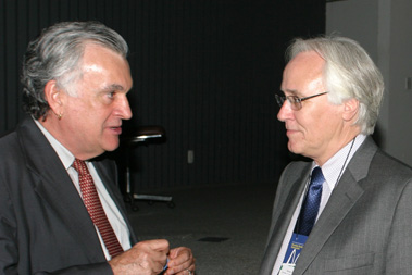 Brazilian Culture Minister Juca Ferreira (left) with Johnson in Brasília last month at the opening of BRASA's annual conference.