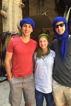 NSLI-Y students trying on turbans at a traditional market in Fes.