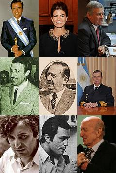 "Prominent Syrian Argentines. From left to right (top to bottom): Carlos Menem, Juliana Awada, Oscar Aguad, Jorge Antonio, Amado Juri, Marcelo Srur, Juan José Saer, Leonardo Favio and Eduardo Falú. (Photo collage: <a href=""https://goo.gl/oYcl9R"">Incolam</a>/ Wikimedia Commons, 2016; cropped. <a href=""http://goo.gl/8KWeJ7"">CC BY-SA 4.0</a>."