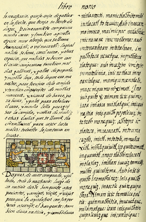 Page from book 9 of the codex, which deals with Nahua food. (Image courtesy of the Laurentian Library, Florence.)
