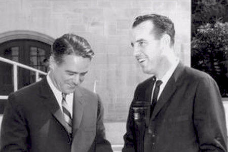 Svenson (right) with the first director of the Peace Corps, Robert Sargent Shriver, Jr.