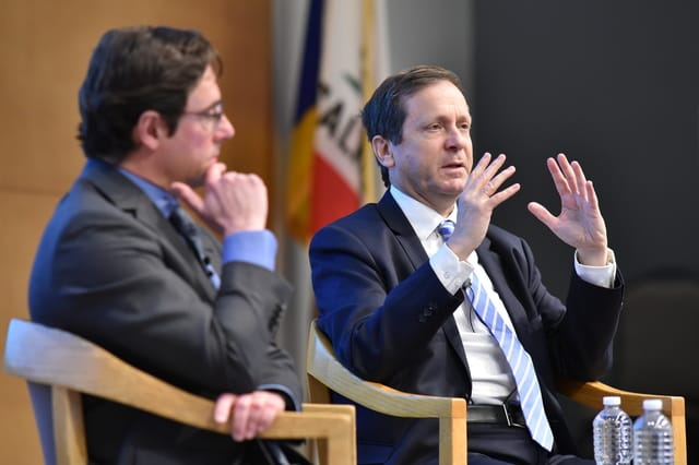 Pictured: Professor Dov Waxman, Director of the UCLA Y&S Nazarian Center for Israel Studies, left, and Isaac Herzog, Chairman of the Jewish Agency for Israel. Photo: Todd Cheney/UCLA