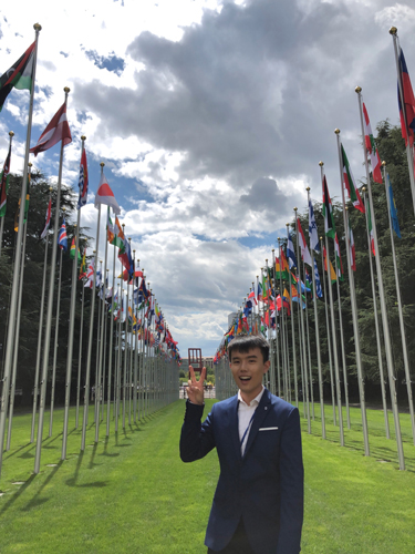 Frankie at UN headquarters in Geneva. (Photo provided by YIN  Sun Frankie.)