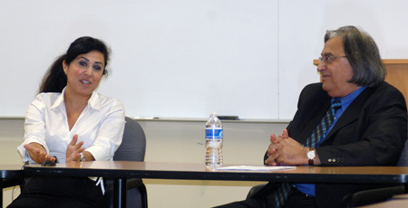Nushin Arbabzadah, translator and UCLA visiting scholar, with author Houshang Asadi