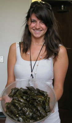 Valerie Berkovich from the Latin American Institute shows dolmas made by workshop participants.