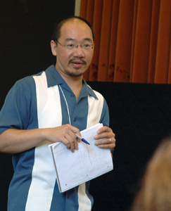 William Chang of the LAUSD summarizes the district's heritage language programs at the workshop.