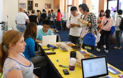 Newly arrived international students attend an orientation at Bradley International Hall.