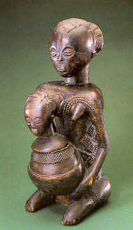 Divination bowl figure attributed to artist Kitwa Biseke, ca. 1880s–1950s. Luba peoples, Malemba Nkulu, Shaba Province, Democratic Republic of the Congo.