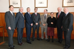 Left to right: British ambassador Nigel Sheinwald; French ambassador Pierre Vimont; Czech ambassador Petr Kolar; Dominic Thomas, chair of the Department of Italian and French and Francophone Studies; Humanities Dean Timothy Stowell; Musicology Professor Susan McClary; German ambassador Klaus Scharioth; European Union ambassador John Bruton.