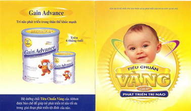 From an advertising brochure for powdered milk formula in Vietnamese