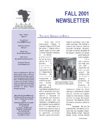 Newsletter, Fall 2001