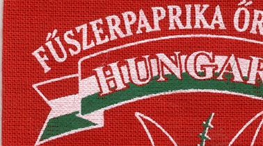 Close-up of a red cloth bag used to package Kalocsa Hungarian paprika powder