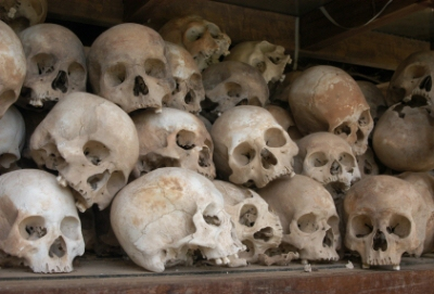 Skulls from a mass grave of Khmer Rouge victims in Choeung -- the Killing Fields near Phnom Penh, Cambodia.